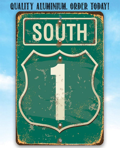 "Image of Tin - South Highway - Metal Sign- 8""x12"" or 12""x18"" Indoor/Outdoor - Home Garage Decor."