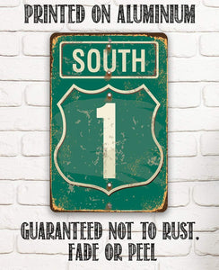 "Tin - South Highway - Metal Sign- 8""x12"" or 12""x18"" Indoor/Outdoor - Home Garage Decor."