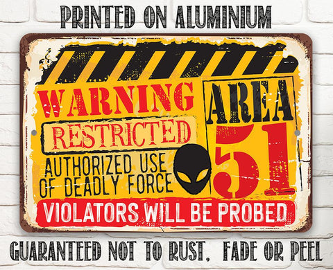 "Image of Tin - Warning Area 51 - Metal Sign - 8""x12""/12""x18"" - Use indoor/outdoor - Property Warning Sign."
