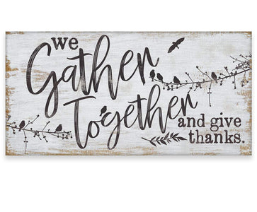 "We Gather Together and Give Thanks - Canvas Lone Star Art 12"" x 24"""