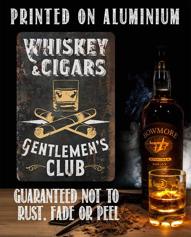 Whiskey & Cigars - Metal Sign.