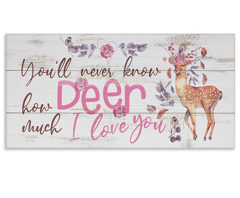 "Image of You'll Never Know Deer (Girl) - Canvas Lone Star Art 12"" x 24"""