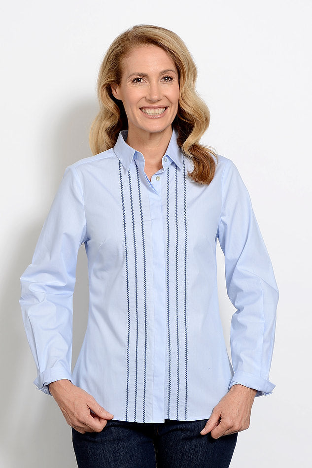 Goondiwindi Stripe Embroidered Shirt Blue