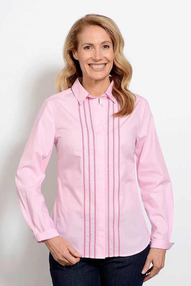 Goondiwindi Stripe Embroidered Shirt Pink
