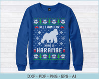 All I Want For X-Mas Is Harambe Ugly Christmas Sweater Design Print Ready Files For Instant Download