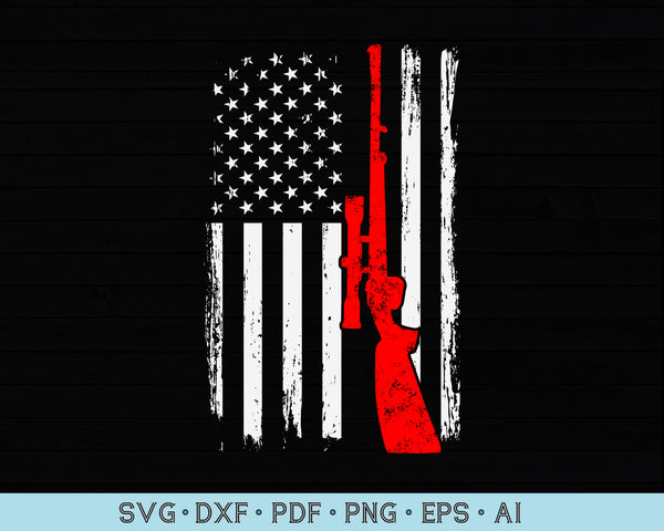 Distressed American Hunting Flag SVG PNG Printable Cutting files
