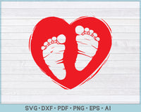 Baby Footprint Heart SVG, PNG Printable Cutting files