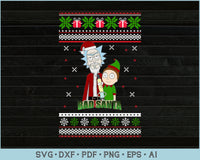 Bad Santa Ugly Christmas Sweater Design Print Ready Files For Instant Download