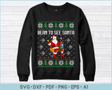 Bean to See Santa Ugly Christmas Sweater Design SVG Print Ready Cutting Files For Instant Download