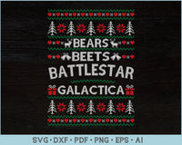 Bears Beets Battlestar Galactica Ugly Christmas Sweater SVG, PNG Printable Cutting Files For Instant Download