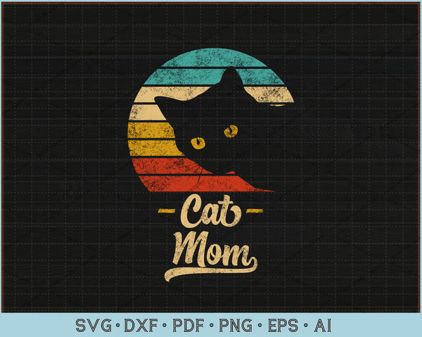 Cat Mom Vintage Eighties Style Cat Retro Distressed SVG, PNG Printable Cutting Files