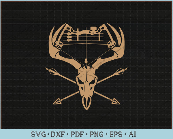 Deer Skull Bow hunting SVG, PNG Printable Digital Cutting Files For Download Instantly