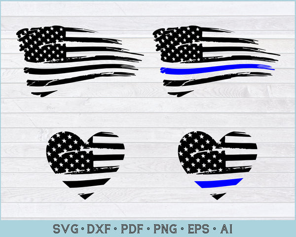 Distressed Flag svg, Distressed Blue Line Flag svg, Png Printable Cutting Files