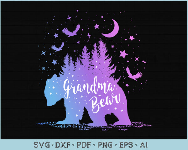 Grandma Bear Outdoor Adventure SVG, PNG Printable Cutting files for Instant Download