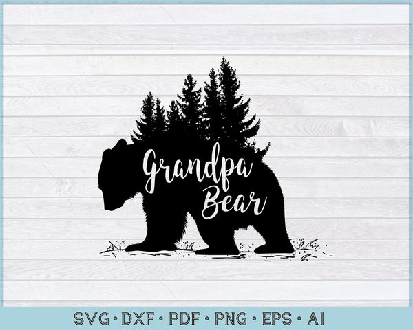 Grandpa Bear SVG, DXF, PNG Printable Cutting file