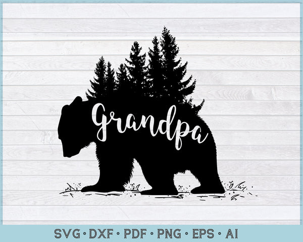 Grandpa Bear SVG, PNG Printable Cutting file