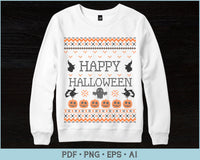 Happy Halloween Ugly Sweater Design PNG, EPS Printable Files