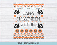 Happy Halloween Witches Ugly Sweater Design PNG, EPS Printable Files