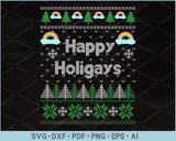 Happy Holigays Ugly Christmas Sweater Design SVG, PNG Printable Cutting Files