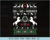 Ho Ho Horses Ugly Christmas Sweater Design SVG, PNG Printable Cutting Files