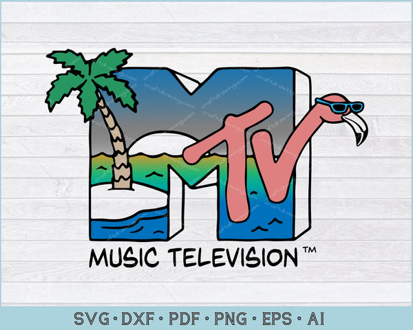 MTV Beach Island Flamingo Logo Vintage Graphic SVG, PNG Printable Cutting Files