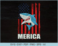 Merica Shark USA American Distressed Flag 4th of July Patriotic SVG, PNG Printable Cutting Files