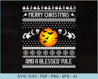 Merry Christmas And A Blessed Yule Ugly Christmas Sweater Design SVG, PNG Printable Cutting Files