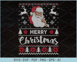 Merry Christmas Ugly Christmas Sweater Design SVG, PNG Printable Cutting Files