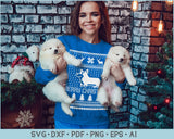 Merry Christmas With Dog Ugly Christmas Sweater Design SVG, PNG Print Ready Cutting File