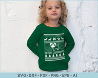 Merry Christmas With Dog Ugly Christmas Sweater Design SVG, PNG Print Ready Cutting Files