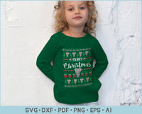 Merry Christmas With Elephant Ugly Christmas Sweater Design SVG, PNG Printable Cutting Files
