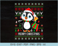 Merry Christmas With Penguin Ugly Christmas Sweater Design SVG, PNG Printable Cutting Files