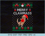 Merry Clawmas Ugly Christmas Sweater Design SVG, PNG Printable Cutting Files