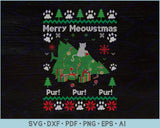 Merry Meowstmas Pur Pur Pur Ugly Christmas Sweater Design SVG, PNG Printable Cutting Files