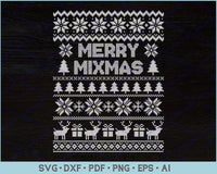 Merry Mixmas Ugly Christmas Sweater Design SVG, PNG Printable Cutting Files