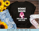 Nonni Shark Doo Doo Doo SVG, PNG Print Ready Cutting Files For Instant Download