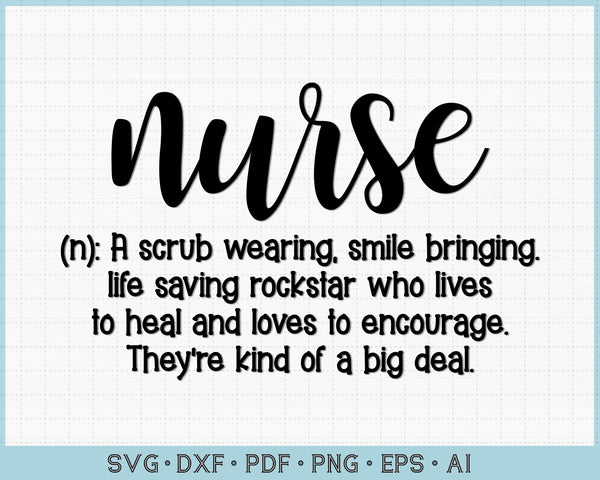 Nurse Definition SVG, PNG Printable Cutting files