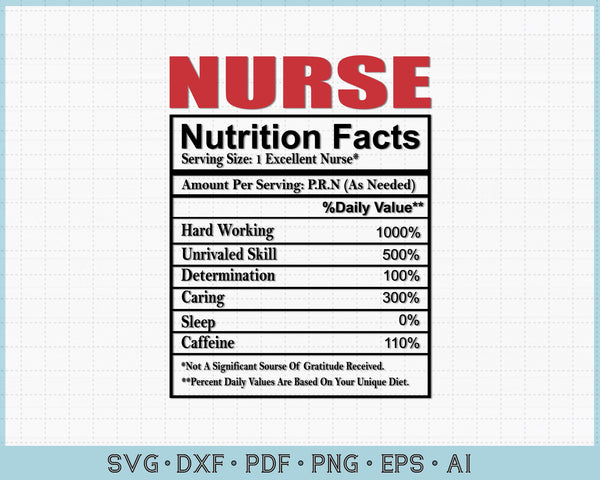 Nurse Nutritions Facts SVG, PNG Printable Cutting files