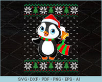 Penguin Ugly Christmas Sweater Design SVG, PNG Printable Cutting Files