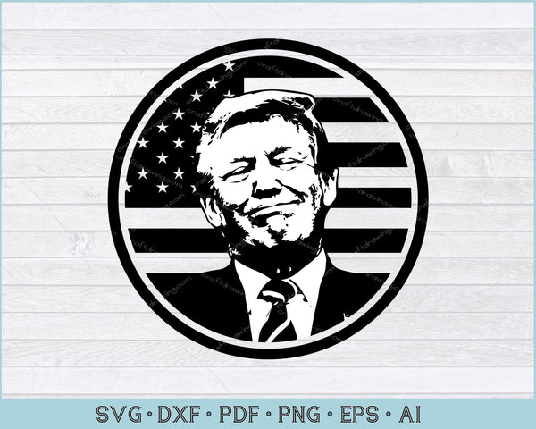 President Trump SVG Silhouette - USA Flag in Background SVG, PNG Printable Cutting Files
