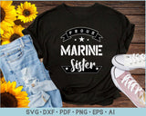 Proud Marine Sister SVG, PNG Printable Cutting files