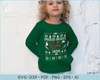 Proud Nurse Mom Ugly Christmas Sweater Design SVG, PNG Printable Cutting Files