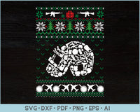 Pubg Game Lover Ugly Christmas Sweater Design SVG, PNG Printable Cutting File
