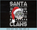 Santa Claws Ugly Christmas Sweater Design SVG, PNG Printable Cutting Files
