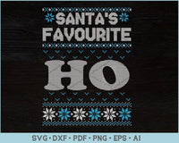 Santa's Favorite HO Ugly Christmas Sweater Design SVG, PNG Printable Cutting Files