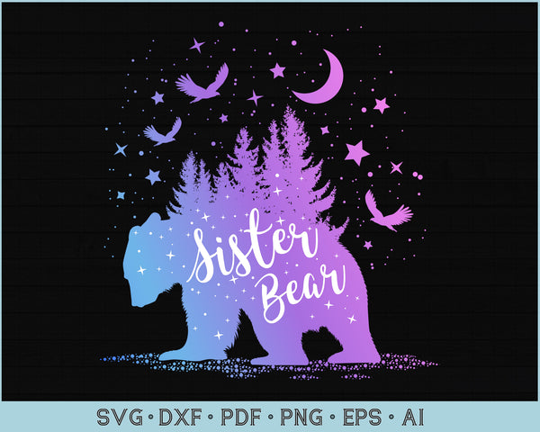 Sister Bear Outdoor Adventure SVG, PNG Printable Cutting files for Instant Download
