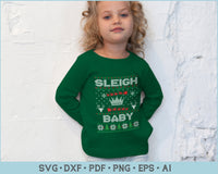 Sleigh Baby Ugly Christmas Sweater Design SVG, PNG Printable Cutting Files