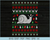 Snail Ugly Christmas Sweater Design SVG, PNG Printable Cutting Files