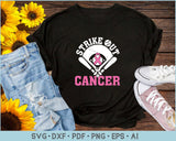 Strike Out cancer Baseball SVG, PNG Printable Cutting Files