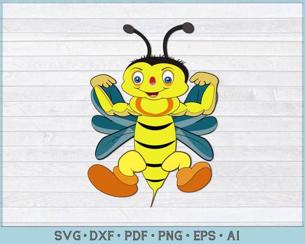 Strong Bee Cartoon Vector Illustration SVG, PNG Printable Cutting file